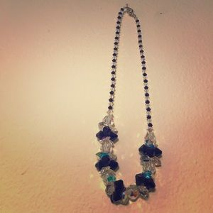 Black and clear crystal plastic necklace